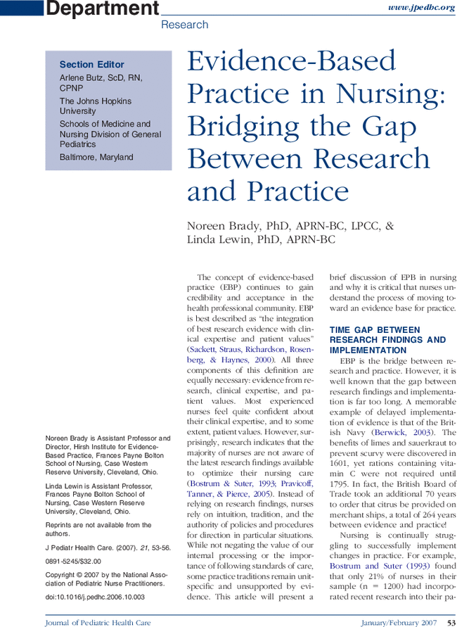 nursing evidence based practice articles